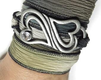 Silk Wrap Bracelet,Yoga Jewelry,Heart,Love,Bohemian,Wrist Band,Yoga Bracelet,Teens,Fashion Jewelry,Earthy,Hand Dyed Silk,Unique Gift,For Her