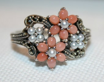 Sterling Silver Coral Marcasite and Pearl Dress Ring