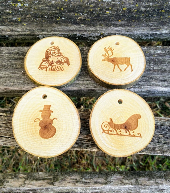 Set of 4 Wood Ornaments. Laser Engraved. Christmas, Holiday Decoration, Gift. Mom, Dad. Rustic