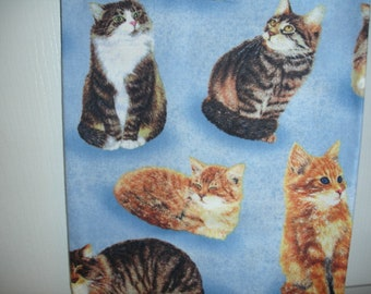 Adorable Cats on country blue cotton print plastic grocery/shopping bag holder