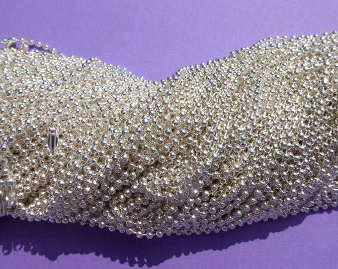Shiny Silver Ball Chain Necklaces - 24 inch - 2.4mm Diameter - Set of 25 - Silver Colored Plated