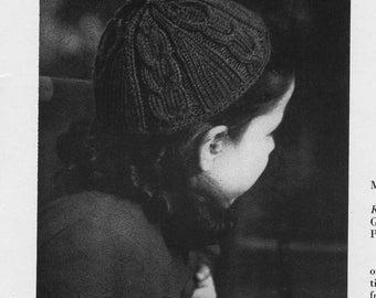 1946 Vintage Cable Knit Childrens Beanie Cap Hat