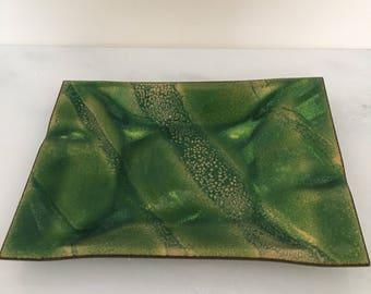 Mid century green enamel over copper ashtray