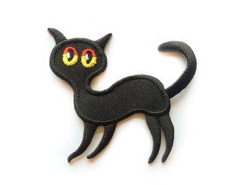 "Black Cat Patch - Cat Tattoo - Thin Black Cat Iron-on Patches - Tattoo Appliqué - Embroidery - DIY Denim Jacket - Size 2.75"" x 3"" (P100)"