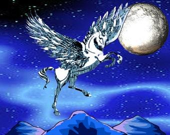 Pegasus Winged Horse,  Fridge Magnet 7cm by 4.5cm,