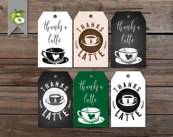 coffee Favor Tag, Thanks a Latte, Coffee Gift, Tea Party Favor, Teachers Gift, Hostess Thank You, Teacher gift tags, printable, Gift tags