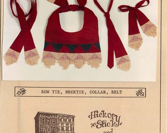 Ragtorn Santa by HIckory Stick and Co a Unique Sewing Pattern for Bow Tie, Collar, Necktie, Belt