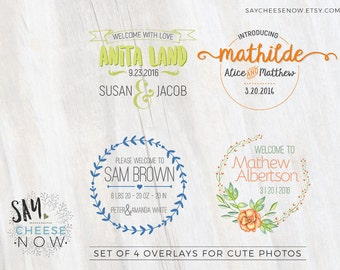 Birth Announcement overlays - new baby photo card overlays template PSD