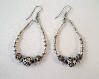 Southwest Beaded Earrings, Traditional Liquid Silver and Silver Bead, Boho Southwestern Country Western Wear, ID 475782921