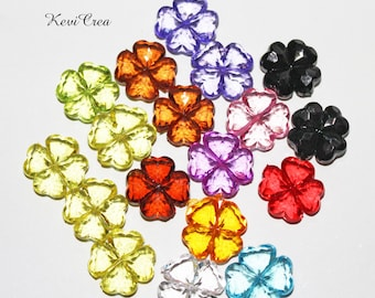 18 x 18mm mixed color faceted acrylic clover beads