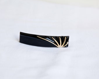 Vintage Art Deco Hair Barrette, Vintage French Hair Clip, Art Deco Hair Accessories, Black and Gold Shell NEW Old Stock Made in France
