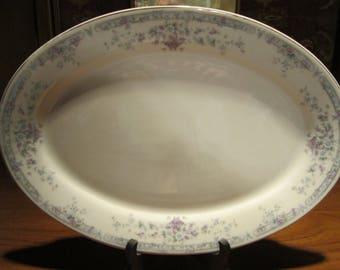 Baum Bros Newport Platter Vintage 1980's #1417 White Lavender Blue Flower Basket Dining Serving Entertaining Collectible
