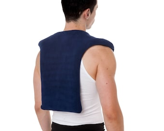 "Unscented Extra Large (26"" x 20"")  Microwave Neck Shoulder Upper Back Wrap, Blue, Moist Heat, Washable Fleece Cover"