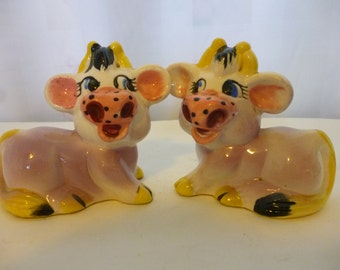 Vintage Kitsch Purple Cow Salt and Pepper Shakers