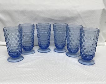 Vintage Light Blue Indiana Whitehall Colony Glass Cubist Tumblers