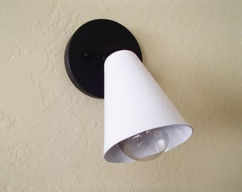 Two Tone Single Cone Wall Sconce Mid Century Modern Vanity UL Listed