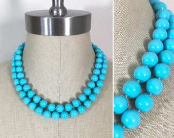 50s 60s Vintage Turquoise Bead Double Strand Choker Necklace