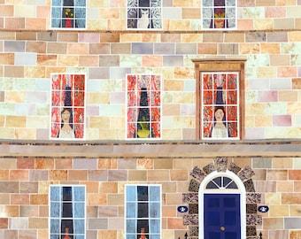 Jane Austen, Grußkarte, Karte, Bad, Schriftsteller Häuser, englische Literatur, stolz und Vorurteil, Amanda weiss, Bücherwürmer Karte, Naive Kunst