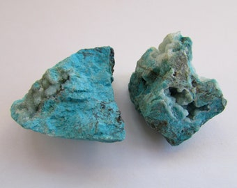 2 Chrysocolla Raw / Rough Turquoise Chrysocolla Stones from Peru - Raw Crystals and Stones, Rocks and Minerals, Healing Stones