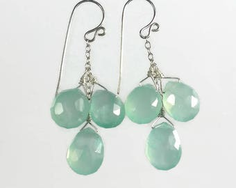Aqua Drop Earrrings Aqua Gemstone Earrings Aqua Chalcedony Earrings Sterling Silver