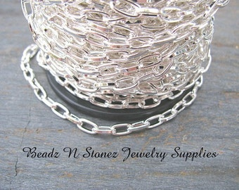 CLEARANCE   SPOOL - Bright Silver Plated  3.7mm x 7.2mm Flat Drawn Cable Chain