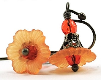 Halloween Earrings Autumn Fall Jewelry Floral Earrings. Orange Petite Flower Earrings with Czech Glass and Antiqued Brass Floral Jewelry