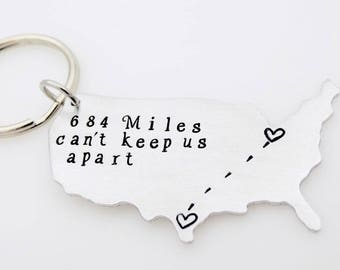 Custom Map Keychain, Long distance Love, Long distance Gift, Personalize with your miles, Custom ldr, Going away gift, Moving away gift him