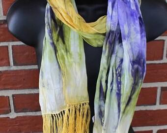 100% silk Scarf with Fringe - Iris - Painted - Handdyed
