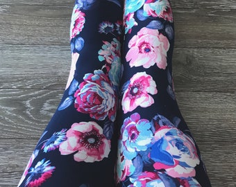 """Leggings for women, ultra comfortable in """"brushed poly"""" polyester/spandex Navy and pink/blue/purple flowers"""