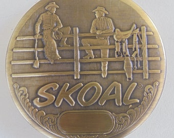 Skoal 2-cowboys on fence snuff lid brushed brass finish-NEW