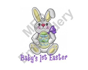 Easter Bunny - Machine Embroidery Design, Baby's 1st Easter