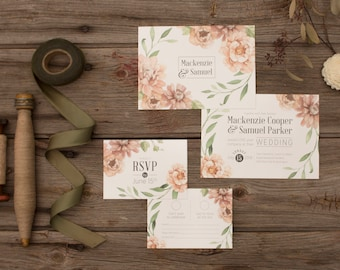 Blush Botanical and Vine Wedding Invitations & Stationery - SAMPLE - Floral Wedding Stationery - Artwork by Alicia's Infinity