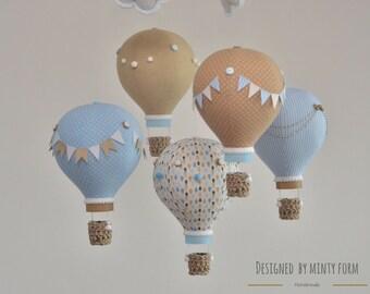 Beige Sky Blue White Hot Air Balloon Mobile Travel Theme Nursery Decor Custom Mobile World Map