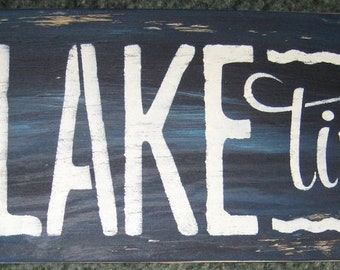 on Lake time.........handmade wall hanging/primitive/shabby chic/water/beach/cabin/boat