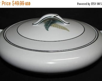 ON SALE Noritake FERNWOOD 5444 Round Covered Vegetable Serving Bowl Dinnerware Green Fern Excellent Condition