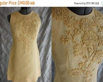 "ON SALE 60s Dress // Vintage 60s Yellow Raw Silk Mini Dress with Rhinestones Embroidery by Sylvia Ann Sz M 29"" waist"