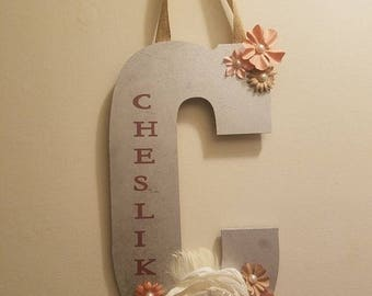 Decorative letter with name for wall/door