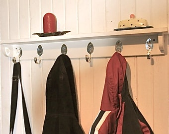 6 Personalized Spoon Hooks Coat Rack with Shelf Recycled Silverware