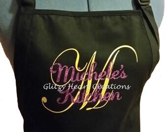 Apron, Personalized Apron, Kitchen Apron, Personalized Kitchen Apron, Gold Initial, Apron with Name and Initial, Black Apron, Cotton Apron