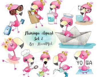 Flamingo clipart set 2 instant download PNG file - 300 dpi.