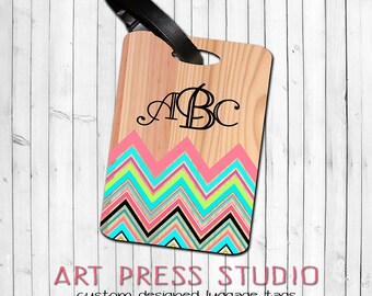 Monogrammed Chevron Luggage Tag, Personalized Geometric Bag Tag, Turquoise and Coral Chevron on Wood Personalized Luggage Tag