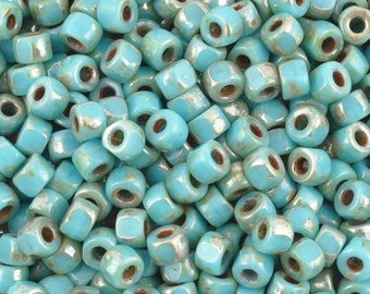 Seed Beads-6/0 Matubo-3 Cut-18 Turquoise Blue Picasso-Czech-16 Grams
