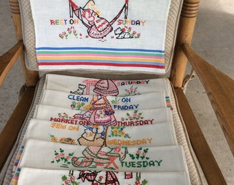 Cross stitch hand towls for every day of the week