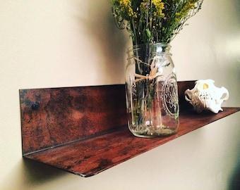 Handmade Steel Rustic Patina Shelf