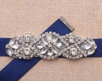Tiny Rhinestone Crystal Bridal Sash / Wedding Sash/ Bridal Belt /Gown Sash