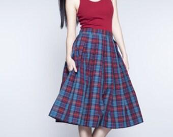 Pleated skirt Midi skirt 50s skirt Plaid skirt Wool skirt Handmade skirt Skirt with pockets Tailored skirt Womens skirt Ladies skirt