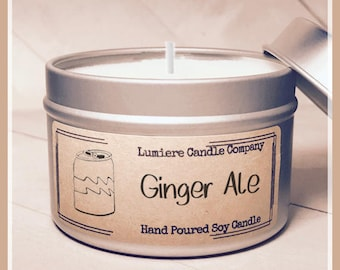 GINGER ALE scented Soy Candle Tin, Scented Soy Candles, Hand Poured Soy Candles, Soy Candles Handmade, Sparkling Candle, Soda Candle