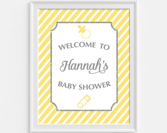 Yellow Baby Shower Welcome Sign, Personalized Baby Shower Welcome Sign, Yellow Stripe, Custom Made Sign, Gender Neutral, DIY PRINTABLE