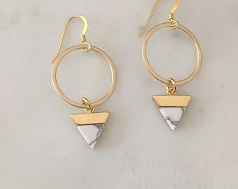 Marmor Gold Ohrringe - handgefertigt - 14k Gold gefüllt