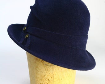 Navy Velour Fur Felt Winter Cloche Draped Custom Hat, Sculted Felt  and Brass Detail-Handmade Custom Couture Millinery/Wide Brim/Hand Draped